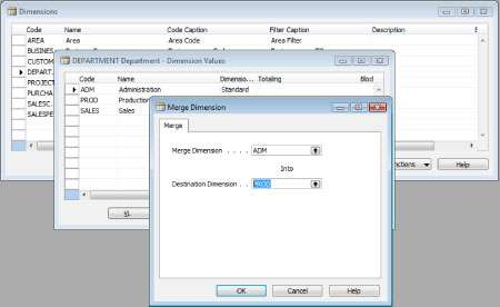 Merge Utility Addon for Microsoft Dynamics NAV helps you merge two dimension values.